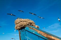 Dettaglio di un peschereccio blu Fotografie Stock