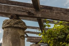Dettaglio di un pilone in pietra e di una calce delle vigne di Carema, Fotografia Stock