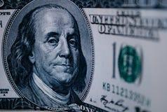 Dettaglio di una banconota in dollari dell'americano di 100 dollari Fotografia Stock