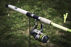 Dettaglio di una bobina di pesca Fotografie Stock Libere da Diritti