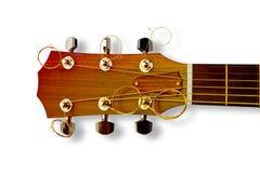 Dettaglio di una chitarra acustica di legno con l'acciaio delle corde immagini stock