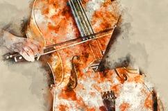 Dettaglio di una donna che gioca il artprint della pittura di arte del violoncello illustrazione vettoriale