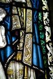 Dettaglio di una finestra di vetro macchiato nell'abbazia di Crowland, Crowland, Li fotografia stock libera da diritti