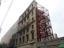Dettaglio di una struttura di tetto di una casa della facciata Fotografia Stock