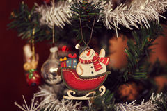 Dettaglio di vari ornamenti di Natale immagini stock libere da diritti
