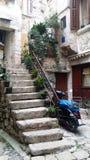 Dettaglio di vecchia città di Rovigno fotografia stock