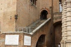 """Dettaglio edificio di Arengo del dell di Palazzo """"sul quadrato di Cavour della piazza a Rimini, Italia fotografia stock"""