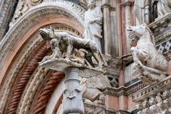 Dettaglio esterno di vista della cattedrale della cupola di Siena del lupo della statua con il romolus e il remus Fotografia Stock Libera da Diritti