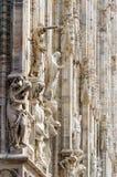 Dettaglio gotico della statua della cattedrale di Milan Dome fotografie stock libere da diritti
