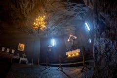 Dettaglio interno della miniera di sale di Cacica, viaggio della Romania Bucovina fotografie stock libere da diritti