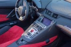 Dettaglio interno di Lamborghini Aventador su esposizione immagine stock libera da diritti
