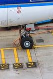 Dettaglio parcheggiato dell'aereo di linea Fotografie Stock Libere da Diritti