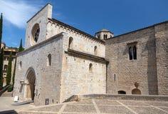 Dettaglio piacevole del punto di riferimento da una città spagnola antica Gerona Immagine Stock Libera da Diritti