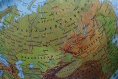 Dettaglio Russia della mappa del globo con russo fotografia stock