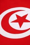 Dettaglio sulla bandiera della Tunisia Fotografia Stock