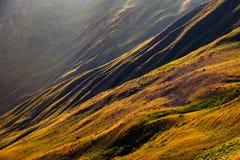 Dettaglio variopinto del paesaggio dei prati e delle colline curvy in Svaneti, Georgia Fotografia Stock