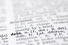 Dette ; Définition en dictionnaire anglais. Photographie stock libre de droits