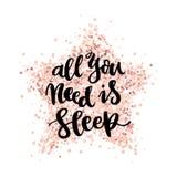 Detteckning citationstecknet: Allt som du behöver, är sömn, på en rosa guld blänker stjärnan royaltyfri illustrationer