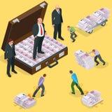 Dettes sur des prêts Les gens restituent des dettes sur le prêt Billet de banque de l'euro cinq cents Illustration isométrique du Photographie stock