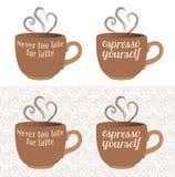 Detti della tazza di caffè del caffè espresso e del Latte Immagini Stock Libere da Diritti