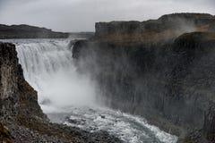dettifoss冰岛瀑布 巨大的喷泉 免版税库存照片