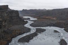 dettifoss冰岛瀑布 河和岩石 免版税库存照片