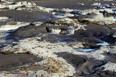 dettifoss Ισλανδία Μαύροι ηφαιστειακοί άμμος και βράχοι Στοκ Εικόνες