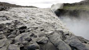 Dettifoss. Dettfoss - waterfall on Jokulsa A Fjollum river in Iceland. it is the most powerfull waterfall in Europe stock footage