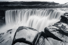 Dettifoss, Iceland. Dettifoss waterfalls, Iceland, on Black and white royalty free stock image