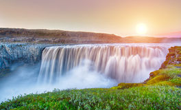 Dettifoss. Is the most powerful waterfall on Iceland and in the whole Europe. It is located in Jokulsargljufur National Park the northeasten Iceland on the stock photo