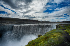 Dettifoss. Is the most powerful waterfall on Iceland and in the whole Europe. It is located in Jokulsargljufur National Park the northeasten Iceland on the stock image