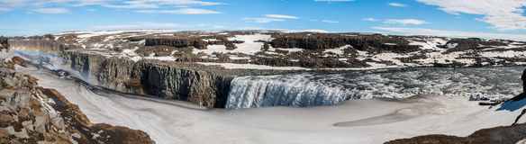 Dettifoss. Panorama of the great Dettifoss waterfall, Iceland Royalty Free Stock Photo