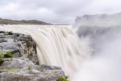 Dettifoss vattenfall i Island med smutsigt vatten Royaltyfri Bild