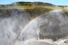Dettifoss vattenfallregnbåge. Fotografering för Bildbyråer