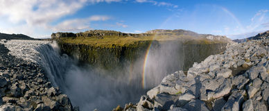 Dettifoss waterfall. Beautiful panorama picture with a view on icelandic dettifoss waterfall royalty free stock photos