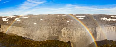 Dettifoss waterfall canyon with bright double rainbow arc, Vatna. Jokull National Park in Northeast Iceland Stock Photography