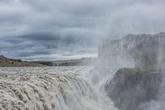 Dettifoss, Iceland. Dettifoss waterfall, Europe`s most powerful waterfall, Iceland royalty free stock photos