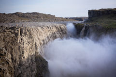 Dettifoss Waterfall in Iceland at overcast weather Royalty Free Stock Photography