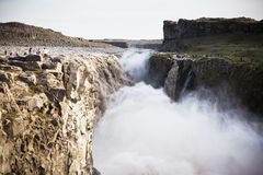 Dettifoss Waterfall in Iceland at overcast weather Royalty Free Stock Photo