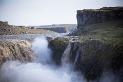 Dettifoss Waterfall in Iceland at overcast weather Royalty Free Stock Images