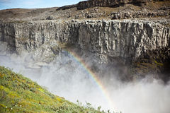 Dettifoss Waterfall in Iceland with rainbow Stock Photo
