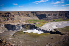 Dettifoss Waterfall in Iceland under a blue bright sky Stock Images