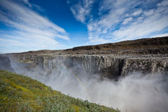 Dettifoss Waterfall in Iceland under a blue sky Stock Photos