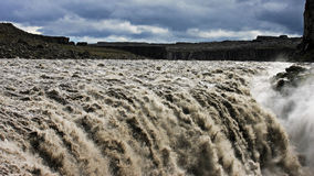 Dettifoss waterfall in Iceland. Dettifoss is a waterfall in Vatnajökull National Park in Northeast Iceland, and is the most powerful waterfall in Europe stock photography