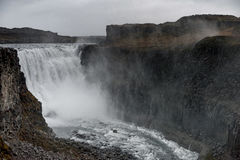 Dettifoss Waterfall in Iceland. Water Spray Royalty Free Stock Photos