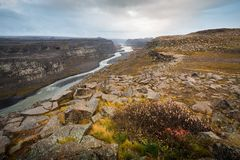 Dettifoss waterfall in North West Iceland. River valley Royalty Free Stock Photos