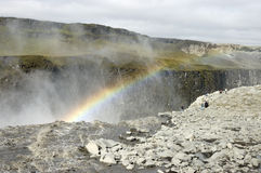 Dettifoss waterfall rainbow, Iceland. Royalty Free Stock Images