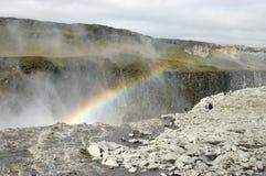 Dettifoss waterfall rainbow, Iceland.
