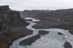 dettifossiceland vattenfall Floden och vaggar Royaltyfri Foto
