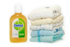 Dettol Antibacterial Disinfectant isolated white background. SELANGOR, MALAYSIA - August 9th, 2018: Dettol Antibacterial Disinfectant isolated white background stock photo